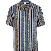 River Island Blue Aztec Print Revere Short Sleeve Shirt