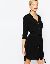 Oasis Belted Shirt Dress Black