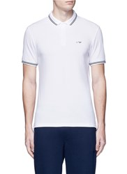 Armani Collezioni Eagle Logo Print Stripe Polo Shirt White