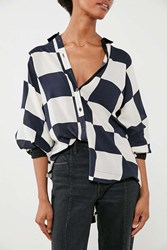 Cooperative Bonjour Checkered Button Down Shirt Black