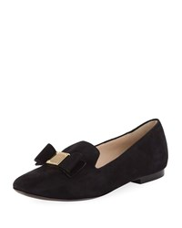 Cole Haan Tali Grand Bow Suede Loafers Black