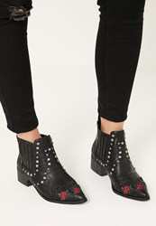 Missguided Black Embroidered Western Ankle Boots