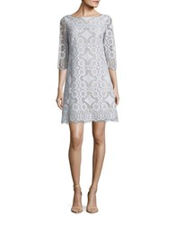 Eliza J Three Quarter Sleeve Lace Shift Dress Blue