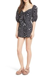 The Fifth Label Lagoon Puff Sleeve Romper Navy Pebble