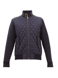 Ralph Lauren Purple Label Quilted Shell And Jersey Bomber Jacket Navy