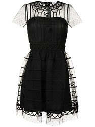 Red Valentino Embroidered Tulle Mini Dress Black