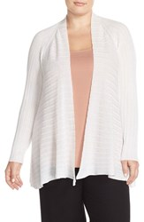 Plus Size Women's Eileen Fisher Ribbed Tencel Short Cardigan Soft White