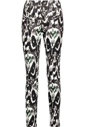 Isabel Marant Nella Printed Stretch Cotton Skinny Pants Black