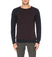 Slowear Contrast Textured Wool Jumper Navy Borduex