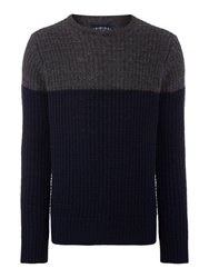 Criminal Avery Colour Block Crew Neck Jumper Navy