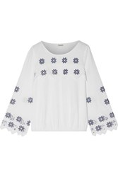 Suno Embroidered Linen And Cotton Blend Top White