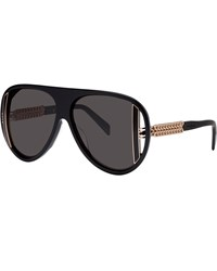 Thierry Mugler Retro Oversized Cutout Aviator Sunglasses Black Gold