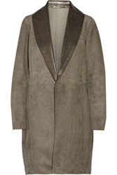Victor Alfaro Suede And Leather Coat Brown