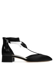 Olgana Paris La Garconne T Bar Satin Pumps Black White