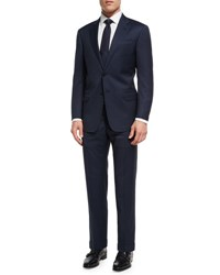 Giorgio Armani Tonal Micro Check Virgin Wool Two Piece Suit Navy