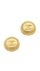 Wgaca Vintage Chanel Cc Texture Earrings Gold