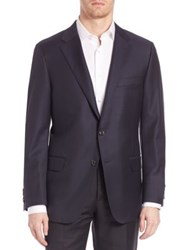 Hickey Freeman Beacon Worsted Wool Blazer Navy