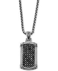 Scott Kay Men's Black Sapphire Dog Tag Pendant Necklace 1 3 8 Ct. T.W. In Sterling Silver
