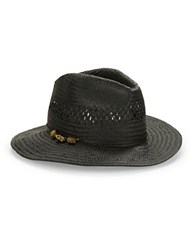Theodora And Callum Crystal Embellished Panama Hat Black