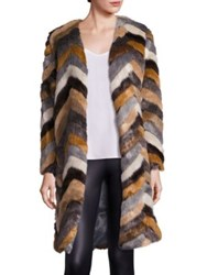 Tart Janis Faux Fur Chevron Coat Copper Urban Chic