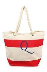 Cathy's Concepts Personalized Stripe Canvas Tote Red Red Q