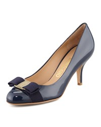 Carla Patent Bow Pump Oxford Blue Salvatore Ferragamo