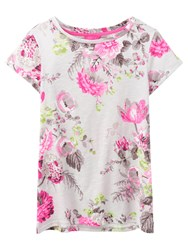 Joules Nessa Relaxed Fit Printed T Shirt Grey Posy