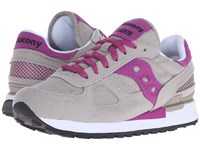 Saucony Shadow Vegan Light Grey Fuchsia Women's Classic Shoes Gray