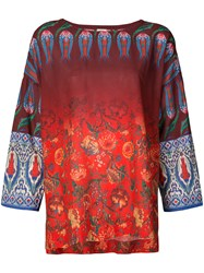Warm Relaxed Multiprint Top Red