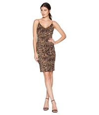 Bebe Cowl Back Chain Strap Dress Gold Black