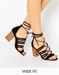Asos Tia Wide Fit Lace Up Heeled Sandals Black