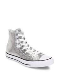 Converse Chuck Taylor All Star Snake Print Metallic Leather High Top Sneakers Silver Black