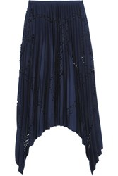 Emilio Pucci Pleated Laser Cut Matte Satin Skirt Storm Blue