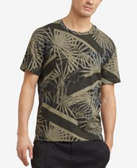 Kenneth Cole Reaction Men's Palm Print T Shirt Olive Drab
