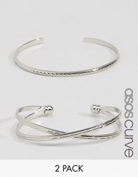 Asos Curve Pack Of 2 Criss Cross Cuff Bracelet And Open Bangle Rhodium Silver
