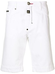 Philipp Plein Skull Print Denim Shorts White