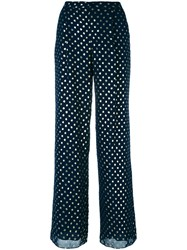 Emporio Armani Dots Print Flared Trousers Blue