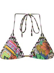 Blue Man Print Mix Triangle Bikini Top