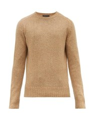 Prada Ribbed Trim Virgin Wool Sweater Camel