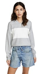 Alice Olivia Kyle Cropped Hoodie Light Heather Grey White Strip