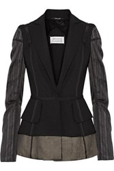 Maison Martin Margiela Silk Chiffon Paneled Wool And Mohair Blend Blazer Black