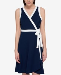 Tommy Hilfiger Sleeveless Wrap Dress Only At Macy's Midnight Ivory