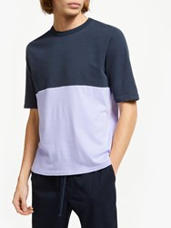 Les Basics Le Football Colour Block T Shirt Navy Lavender