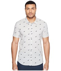 John Varvatos Mayfiled Slim Fit Sport Shirt With Cuffed Short Sleeves W443t1b Pearl Grey Men's Clothing Gray