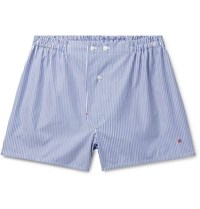 Isaia Striped Cotton Boxer Shorts Blue