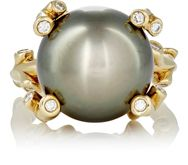 Sidney Garber Women's White Diamond And Tahitian Pearl Branch Ring Color Colorless