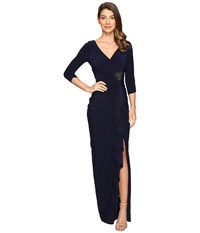 Adrianna Papell Long Sleeve Side Draped Jersey Gown W Embelishment Midnight Women's Dress Navy