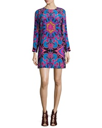 Alice And Trixie Zoey Long Sleeve Printed Shift Dress Blue Pink