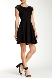 Eight Sixty Mesh Shoulder Fit And Flare Dress Black