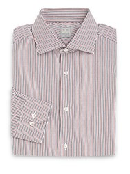 Ike Behar Regular Fit Track Stripe Cotton Dress Shirt Red Multi